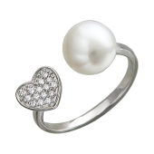 Кольцо размокнутое Сердце с жемчугом и фианитами, серебро