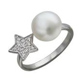 Кольцо Звезда с жемчугом и фианитами разомкнутое, серебро