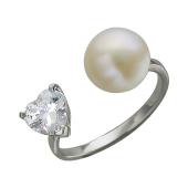 Кольцо Сердце с жемчугом и фианитом в форме сердца разомкнутое, серебро