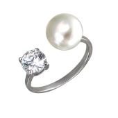 Кольцо открытое с жемчугом и фианитом из серебра