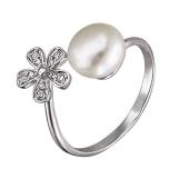 Кольцо разомкнутое Цветок и жемчужина с фианитами, серебро
