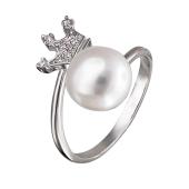 Кольцо Корона с жемчугом и фианитами из серебра