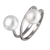 Кольцо пружинка с двумя жемчужинами, серебро