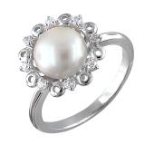 Кольцо с жемчугом и фианитами, серебро
