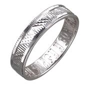 Кольцо обручальное с алмазными гранями и надписью Спаси и Сохрани внутри, серебро
