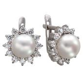 Серьги с белым жемчугом и фианитом, серебро
