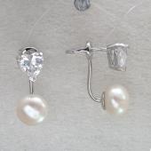 Серьги двойные пусеты Сердце с белым жемчугом и фианитом, серебро