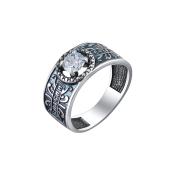 Кольцо Спаси и Сохрани филигранное с фианитом, серебро черненое