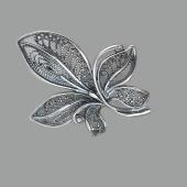 Брошь Цветок из серебра 925 пробы с чернением