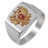 Кольцо мужское Двуглавый Орел с эмалью, позолотой и чернением из серебра 925 пробы