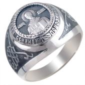 Кольцо мужское Николай Чудотворец из серебра 925 пробы с чернением