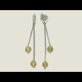 Серьги длинные с двумя цепочками и цветными фианитами, серебро
