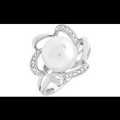 Кольцо с бриллиантом и жемчугом, белое золото