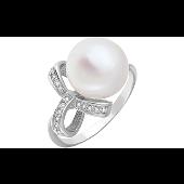 Кольцо Бант с жемчугом и бриллиантами, белое золото