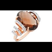 Кольцо с большим раухтопазом и фианитами, красное золото