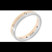 Кольцо обручальное с 6 бриллиантами, красное и белое золото