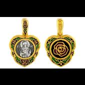 Семистрельная Икона Божьей Матери в окладе в форме Сердца с розами, цветная эмаль, серебро с позолотой