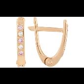 Серьги Дорожка с розовым и белым фианитом, красное золото