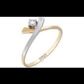 Кольцо с 1 бриллиантом, желтое золото