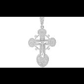 Крест православный с бриллиантами, белое золото