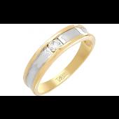 Кольцо с одним бриллиантом, желтое золото
