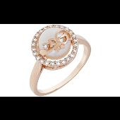 Кольцо Цветок с жемчугом и фианитами, красное золото