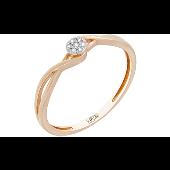 Кольцо с бриллиантами, красное золото