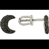 Серьги пусеты Луна с черными бриллиантами, белое золото 585 проба