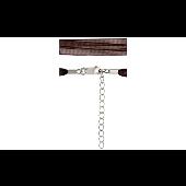 Шнурок коричневый из органзы, серебряный замок с удлинителем