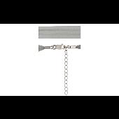Шнурок серый из органзы, серебряный замок с удлинителем