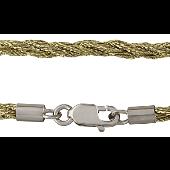 Шнурок шелковый золотистый крученый, серебряный замок карабин