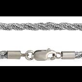 Шнурок серебристый крученый шелковый, серебряный замок