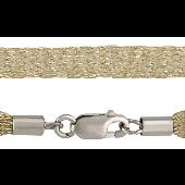 Шнурок жгут шелковый золотистый округлый, серебряный замок