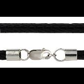 Шнурок-жгут плетеный из хлопка, серебряный замок карабин