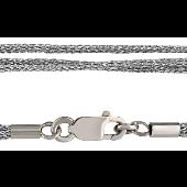 Шнурок серебристый из искусственного шелка, серебряный замок