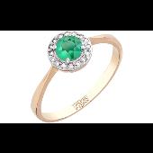 Кольцо Принцесса с бриллиантами и изумрудом, красное золото