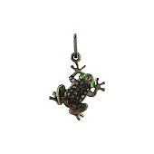 Подвеска Лягушка с черными бриллиантами и тсаворитом, белое золото