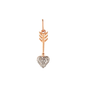 Кулон Стрела Амура с сердцем и бриллиантами, красное золото