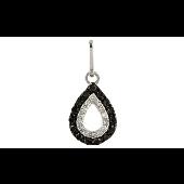 Подвеска Капля с чёрными и белыми бриллиантам, белое золото