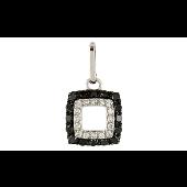 Подвеска квадратная с чёрными и белыми бриллиантами, белое золото
