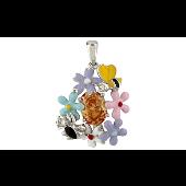 Подвеска Цветы с цветной эмалью и фианитами, серебро