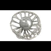 Кольцо с чёрной жемчужиной, серебро