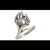 Кольцо с имитацией чёрного жемчуга и фианитами, серебро