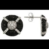 Серьги-пусеты круглые с черными и прозрачными фианитами, серебро