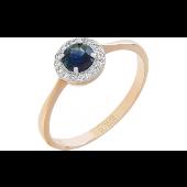 Кольцо Принцесса с бриллиантами и сапфиром, красное золото