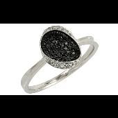 Кольцо с чёрными и белыми бриллиантами, белое золото