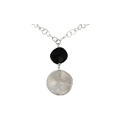 Колье Stone с чёрным фианитом и матовым серебром, серебро 925 пробы