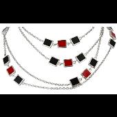 Колье с квадратными чёрными и красными подвесками в стиле Ван Клиф, серебро с каучуком