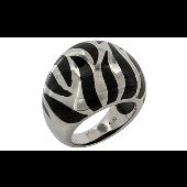 Кольцо Зебра с каучуком, серебро