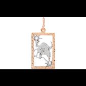 Подвеска знак зодиака Телец с алмазными гранями и фианитами, красное золото